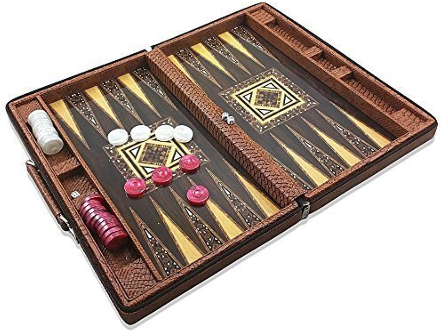 Luxury Leather Backgammon Set - Board Game- 17.5 Travel Attache Case by Star