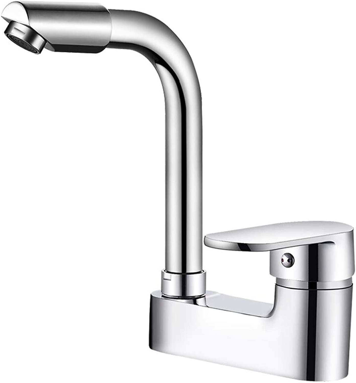 WOOMD Single Handle Double Control Basin Faucet Lead-free Basin Faucet Bathroom Sink Faucet Copper Main Body 360 Degree redating Double Hole Hot and Cold Water Faucet with Water Separator Shower Funct