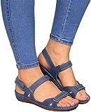 Sandales Femmes Sandales à Bout Ouvert Orthopédiques Sandlas à Bout Ouvert en Velcro Respirant et antidérapant Portable pour la Plage d'été pour Sandales,Bleu,37