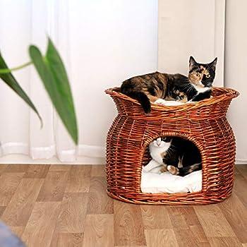 lionto by dibea Corbeille osier pour chats grotte pour chats corbeille coussin 55x39x43 cm Marron