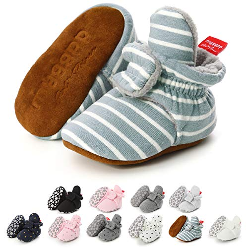 Infant Baby Boys Girls Booties Cotton Adjustable Newborn Slippers Crib Shoes Soft Warm First Walkers