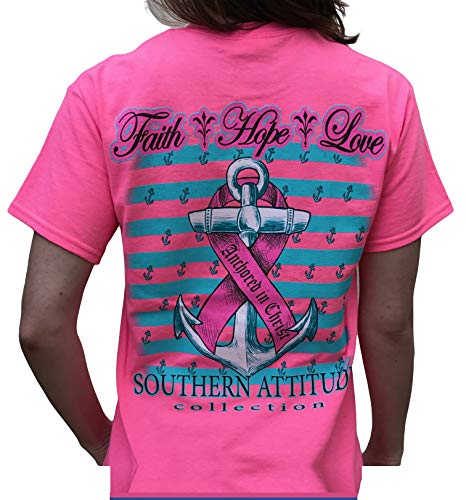 Southern Attitude Hope Breast Cancer Awareness Pink Short Sleeve Shirt (2X-Large) Awareness Womens Pink T-shirt