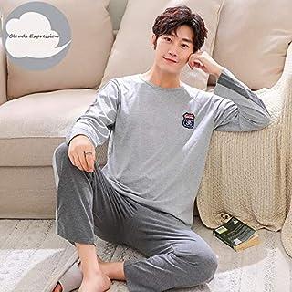 Autumn Winter Knitted Cotton Cartoon Men's Pyjamas Striped Pajamas Set Casual Male Sleepwear Pyjamas Night Pijamas 3XL Homewear Home wear pajamas (Color : Ivory, Size : XL)
