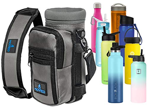 Water Bottle Holder Carrier - Bottle Cooler w/Adjustable Shoulder Strap and Front Pockets - Suitable for 16 oz to 25oz Bottles - Carry Protect & Insulate Your Bottle or Hydro Flask
