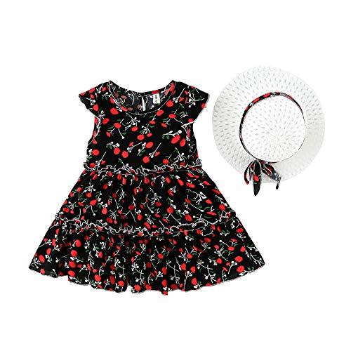 Kobya Kleinkind Baby Kinder Mädchen Hosenträger Ärmellose Erdbeer Print Farbe Blumenprinzessin Kleid Hut Outfits