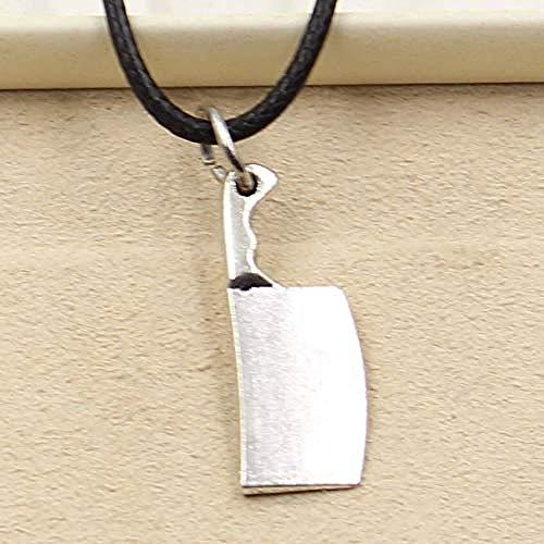 POIUIUYH Co.,ltd Collar Colgante de Color Plata Tibetana Collar Cuchillo de Cocina Gargantilla Encanto Cordón de Cuero Negro