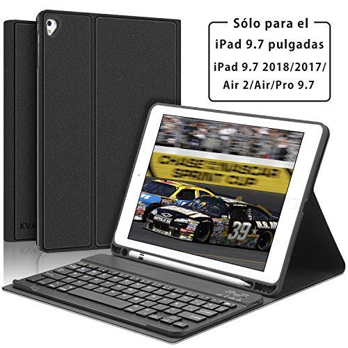 KVAGO Teclado con Funda para iPad 9.7 Pulgadas Compatible con iPad 2018/2017/Air 2/Air/Pro 9.7, Diseño en Español Teclado Bluetooth Inalámbrico con Auto-Sueño/Estela Cover Case para iPad 9.7,Negro