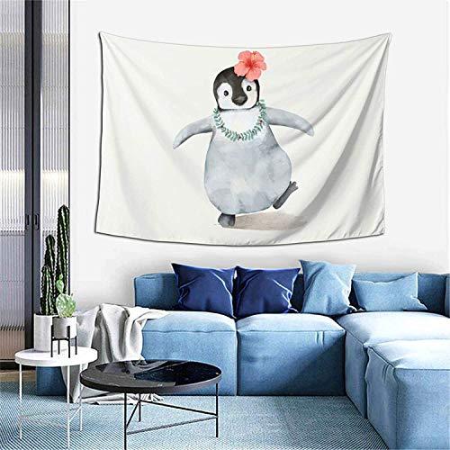 Pug con disfraz de ngel tapiz decoracin del hogar cortina de puerta para dormitorio sala de estar al aire libre 60 x 40 pulgadas - pingino con flores