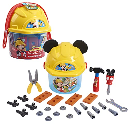 Disney Junior Mickey Mouse Handy Helper Tool Bucket Construction Role Play Set, 25-pieces, by Just Play