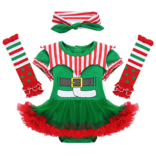 dPois Disfraz de Elfo Navidad para Bebé Niña Recién Nacido Mameluco con Falda Tutú Vestido de Fiesta Cosplay Manga Corta Ropa Navideña Conjunto Infantil Verde&Rojo 3-6 Meses