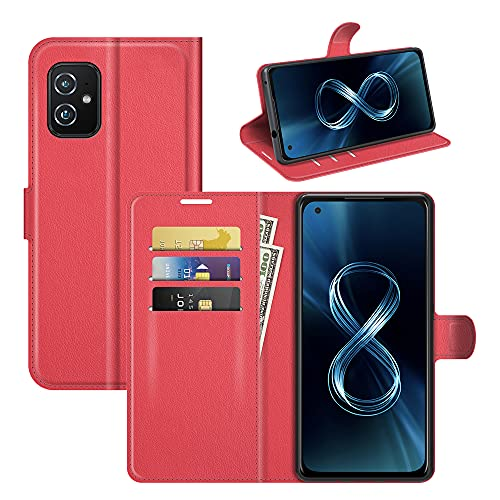 Custodia® Capirotazo Billetera Funda Compatible para ASUS Zenfone 8/ASUS Zenfone 8 Mini (Rojo)