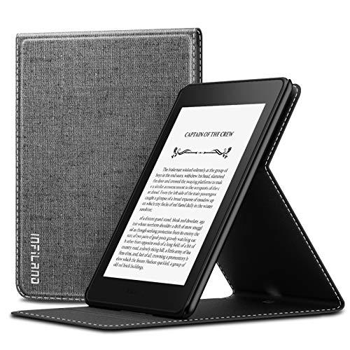 INFILAND Coque pour Kindle Paperwhite 2018 (10ème génération, modèle 2018) - Smart Cover Case Housse Étui Flip de Protection avec Support Multi-Angle, Fermeture Magnétique, Gris