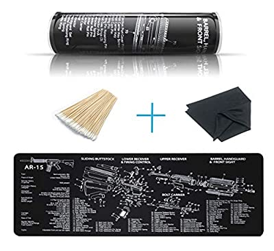 YFEEX Gun Cleaning Mat Pad (36.2'' X 12.2'') -Ar15 Cleaning Mats with Cotton Swabs & Cleaning Cloth-Workbench Mat - with Ar 15 Parts Diagram