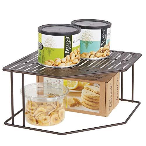 mDesign Baldas de cocina – Soporte para platos para rincones de encimeras e interiores de armarios – Estante separador con dos alturas para aprovechar el espacio al máximo – color bronce
