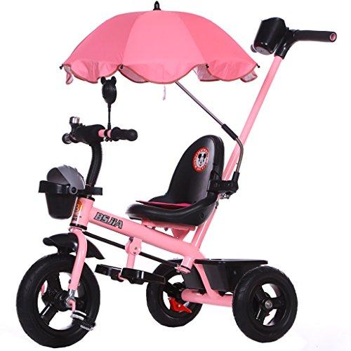 Kinderdriewieler fiets 1-2-3-5-6 jaar oude mannelijke en vrouwelijke kinderwagen baby driewieler met paraplu roze