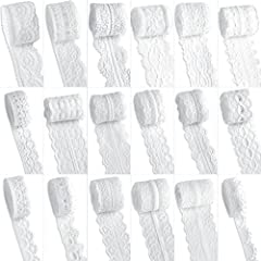 Material: Made of soft high-quality polyester, white & cream color, 18 different patterns lace, come in rolls, fixed by a pin Width: 18 patterns laces come in different width, the width between 1.4cm-4.3cm; 2 styles about 4.3cm/1.7inch, 5 styles abou...