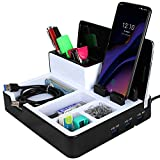 Tizum Z56 Silvercrest Multifunctional Mobile, Tablet Stand & Stationery Holder Organizer for Home & Office with 3 USB Hub (Black)