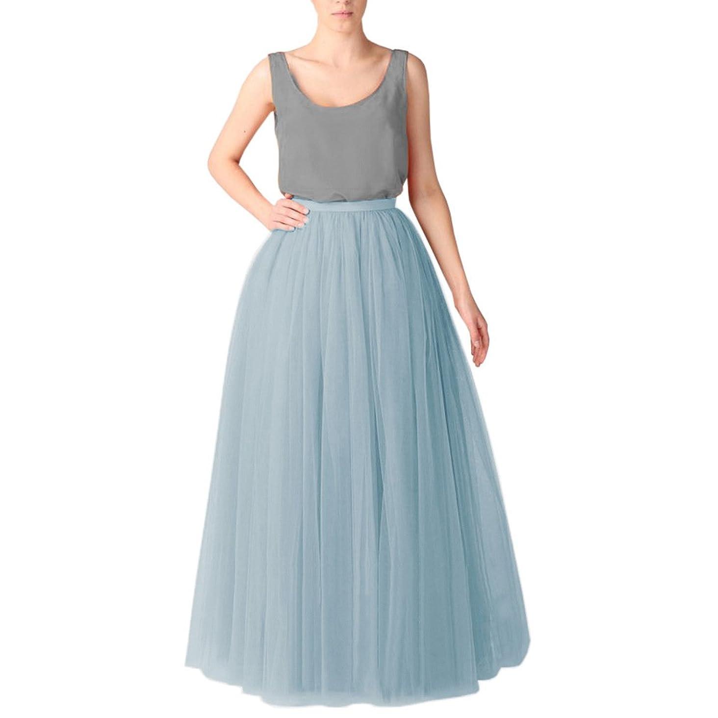 WDPL Women's Long Tutu Tulle Skirt A Line Floor Length Skirts