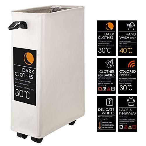 Eono Amazon Brand Doble Bolsas Cestos para la Colada con Ruedas, Gran Servicio de lavandería, Plegable Bolsa de Lavado de Ropa Bin (Beige, M)