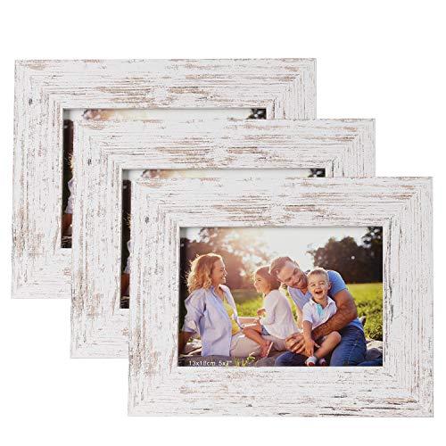 HelaCueil 3er Set Holzbilderrahmen Bilderrahmen, aus MDF mit Hochauflösende Glas (Vintage weiß, 13x18 cm / 3er Set)