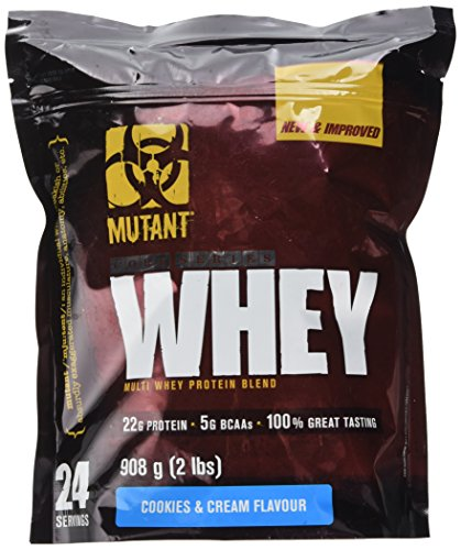 MUTANT WHEY – Muscle-Building Whey Protein Powder Mix in Great Flavors and Enzyme Fortified for Optimal Digestion, 908g (2 lb) - Cookies and Cream