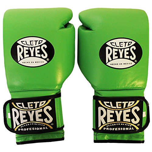 CLETO REYES Hook and Loop Leather Training Boxing Gloves - 16 oz. - Citrus Green