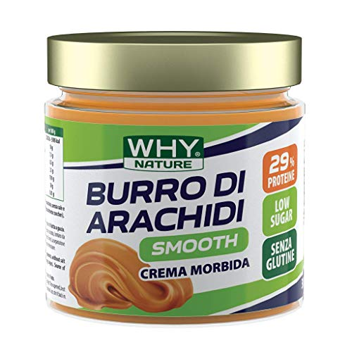 WHY NATURE BURRO DI ARACHIDI 100% NATURALE 350g - PACK DA 4 PEZZI (SMOOTH - LISCIO) FORMATO RISPARMIO + Omaggio- NT INTEGRATORI