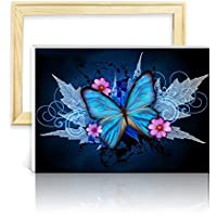 ufengke Kit Pintura de Diamantes 5D Mariposa Azul Punto de Cruz Diamante Completo DIY para Amantes del Arte, con Marco de Madera, Diseño 25x35cm