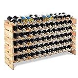 COSTWAY Portabottiglie per Vino in Legno Scaffale per 72 Bottiglie di Vino, 119 x 29 x 71,5 cm
