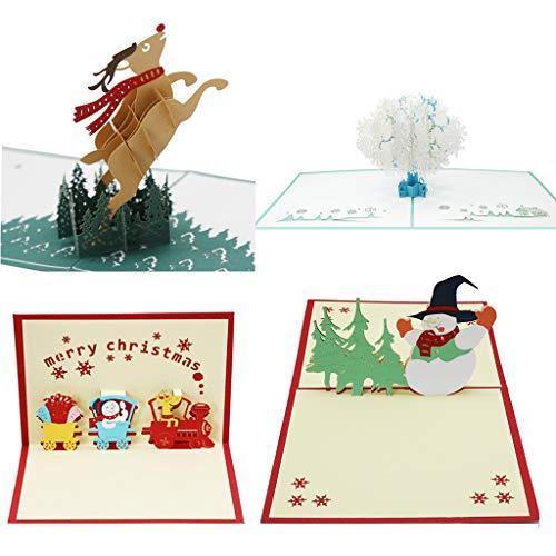 4 tarjetas de Navidad en 3D con sobre para cumpleaños, bodas, confirmación, nacimiento, fiesta
