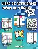 Libro de actividades niños de 9 años: 6 en 1 - Sopa de letras, Sudoku, colorear, laberintos, KenKen y tres en línea (Vol.1)