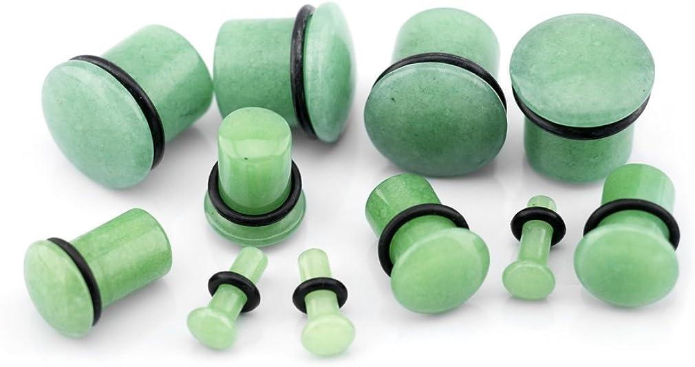 Urban Body Jewelry 4 Gauge (4G - 5mm) Synthetic Green Jade Stone Plugs 1 Pair (2pc) - Single Flare