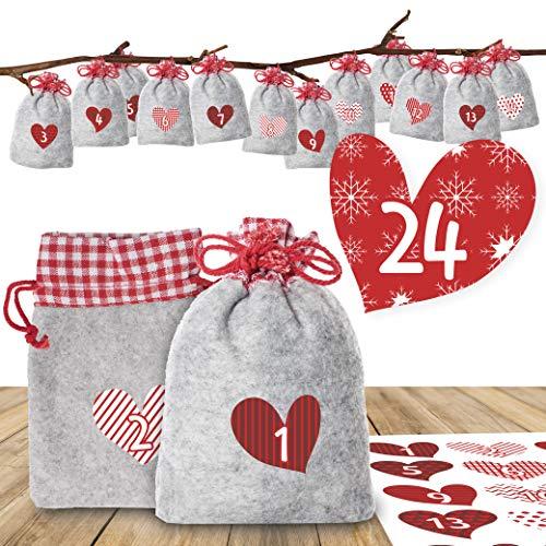 """Adventino Adventskalender zum Befüllen – mit 24 weihnachtlichen Filzbeuteln und Zahlen-Aufklebern """"Romantischer Advent"""" für Männer, Frauen und Paare"""