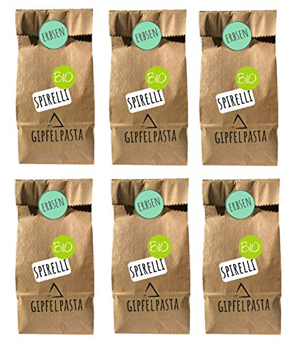 Gipfelpasta Bio Erbsen Pasta Spirelli Low Carb Nudeln 6er Pack (6x250g)