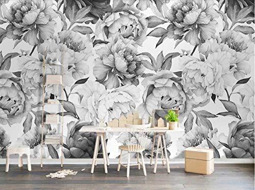3D Schwarz Weiß Pfingstrose Blume Tapete Wandbild Für Wohnzimmer Hand Ölgemälde Tapeten Wohnkultur Floral Murals Custom-150Cmx105Cm