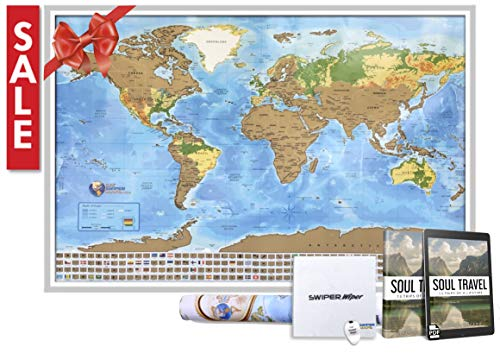 Scratch off travel map of the world - Easy to scratch off world travel map tracker - 33 x 24 Poster