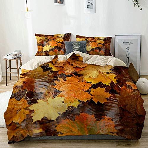 772 AQL Parure de lit avec Housse de Couette en Microfibre,Eau de Feuille d'érable Automne,Housse de Couette 220cm x 240cm avec 2 taies