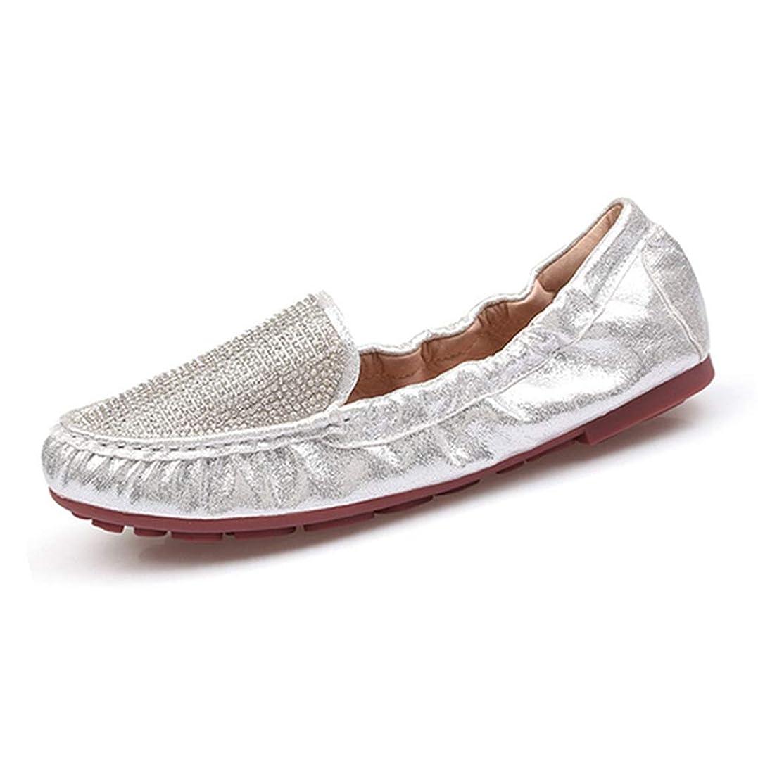 衛星赤字ほんの[リンゼ] 折りたため モカシンシューズ シンブル靴 キラキラ レディース パンプス ジュエル付き フラットシューズ 柔らか ローヒール パーティー ラウンドトゥ シューズ レディースシューズ ラウンドトゥ ローファー