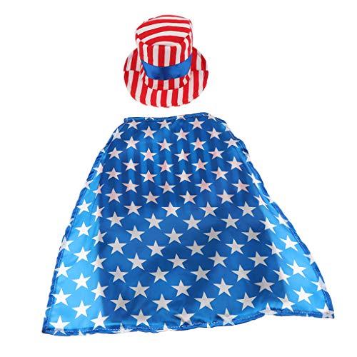 F Fityle Haustier Kostüm Outfit Hund Katze Amerikanische Flagge Party Männlich Anzug Hut Kostüm - L