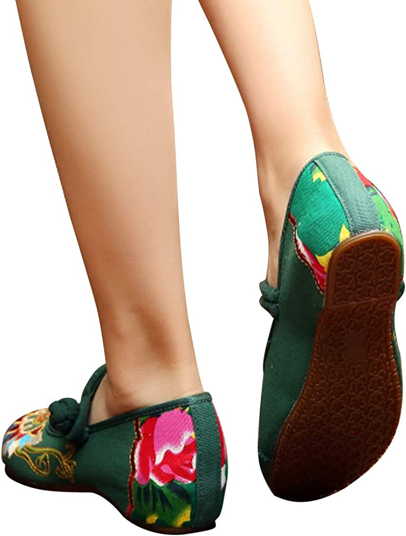 Yefree Bestickte Schuhe Damenmode Abriebfest Nehmen Sie Schnalle Runde Kopf Tanzschuhe