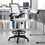 Flash Furniture Mid-Back White Mesh Ergonomic Drafting Chair with Adjustable Foot Ring and Flip-Up Arms