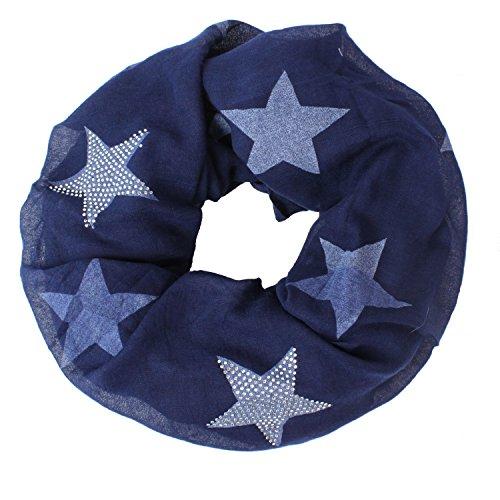 Glamexx24 Loop schal leichter Langschal Sterne Muster Schlauchschal Strass Tuch Viele Farben SC20170401, Blaujeans, Einheitsgröße