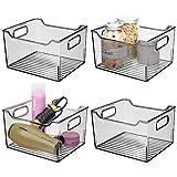 mDesign Juego de 4 cajas organizadoras con asas integradas – Organizador transparente con diseño atractivo – Contenedor plástico ideal como organizador de cosméticos para el baño – gris humo