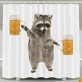 Daisylove Duschvorhang, lustiges Waschbär-Motiv, Wasserdichtes Polyester, Duschvorhang-Set für Herren & Damen