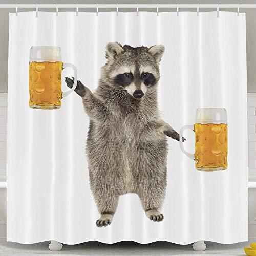 Daisylove Duschvorhang, lustiges Waschbär-Motiv, Wasserdichtes Polyester, Duschvorhang-Set für Herren und Damen