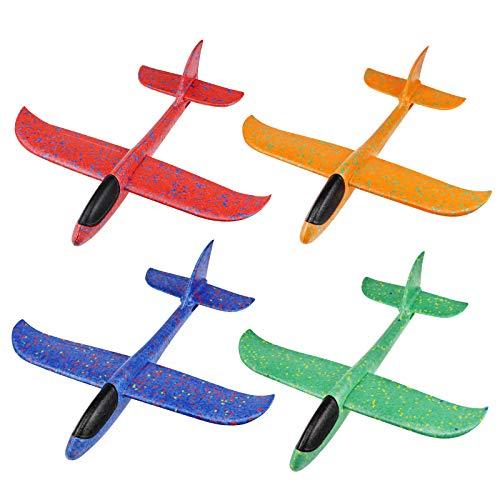 Lunriwis Segelflugzeug,4 Stück 36cm Kinder Styroporflieger Flugzeug Spielzeug ,Manuelles Werfen Flugzeug Spielzeug , Modell Schaum Flugzeug, Outdoor-Sportarten Flugzeug Spielzeug
