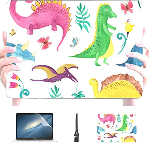 Engree MacBook Pro 13 Inch Case 2015 2014 2013 end 2012 A1502 A1425, Dinosaurs Cute Kids Colorful Animals Pattern Hard Shell Case Cover for Old Version Apple Mac Pro Retina 13