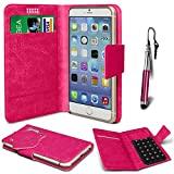 N4U Online®–Oppo Joy Plus Hot Pink Pu Leder Saugnapf Pad Wallet Schutzhülle und Mini Stylus Pen