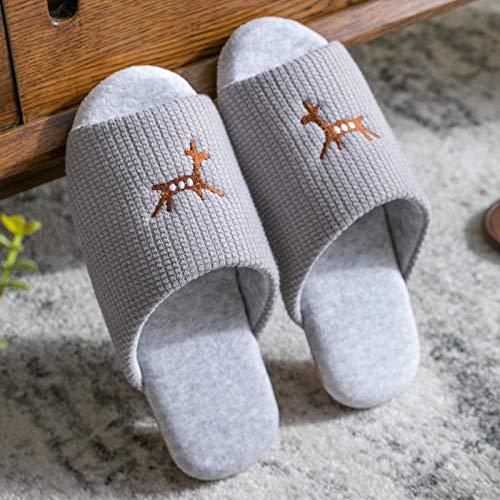MQQM Geschenk SchlüPfen Flauschige Pantoffeln,rutschfeste, atmungsaktive Hausschuhe, innen stummgrau_43-44,Baumwolle Pantoffeln Flauschige