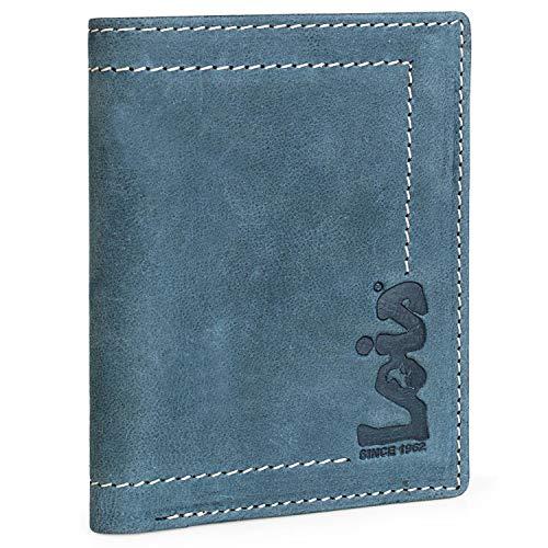 Lois - Cartera Hombre Piel Genuina Cuero. Monedero, Tarjetero y Billetera con Sistema Bloqueo RFID. Diseñada en España 201518, Color Azul